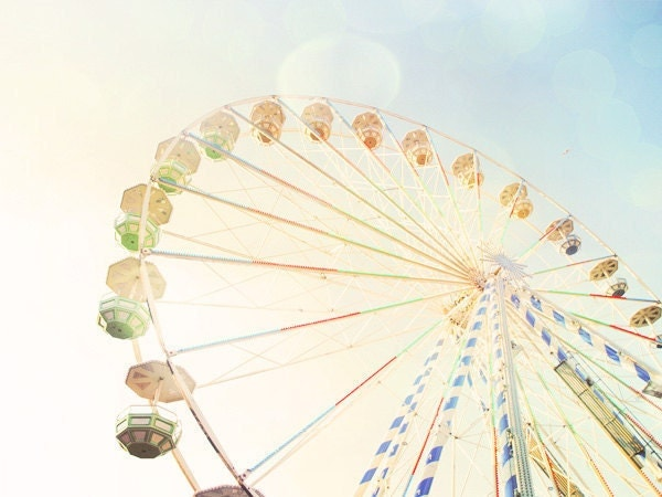 Ferris Wheel 2. Carnival Photos. Nursery Art Baby Room. Autumn Fair. Blue Skies. Bokeh Light. Pastel Colors. Fine Art Photography 8x10""
