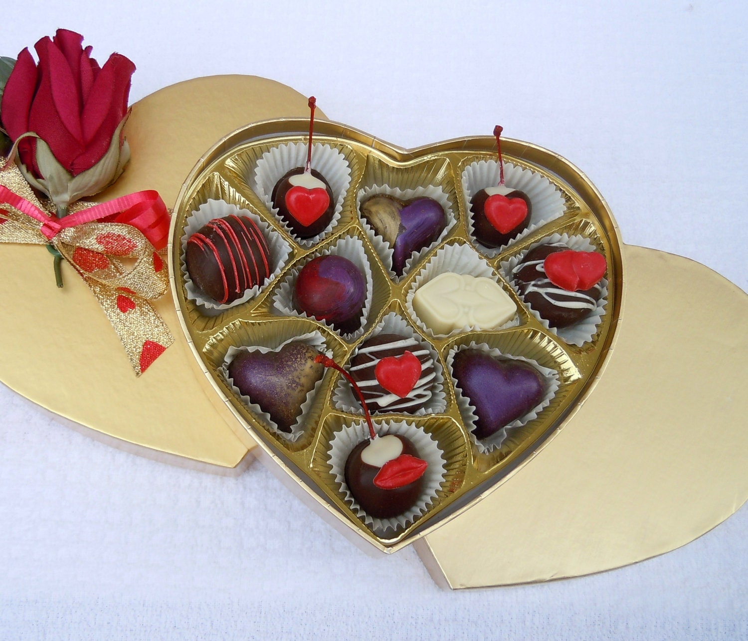 Gold Valentines Day Heart with Truffles and Cherries