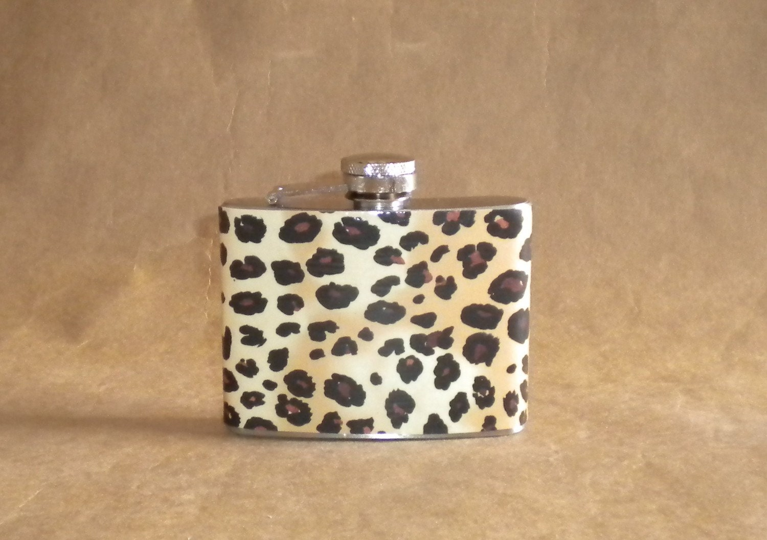 Leopard Print Girl Gift Stainless Steel 4 ounce Hip Flask