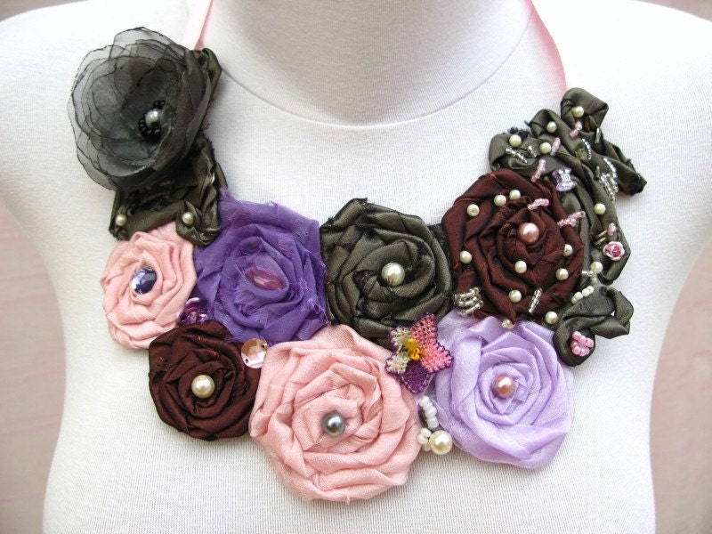 Bib Style Necklace with Satin Fabric and Organza by nezjewelry from etsy.com