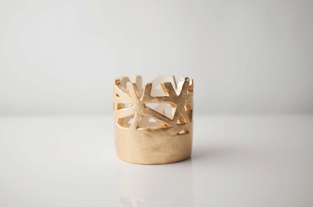 Small Gold Cutaway Vessel - upintheairsomewhere