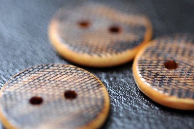 Hash Marks Wooden Buttons Woodburning by LiDDesignsSupplies from etsy.com