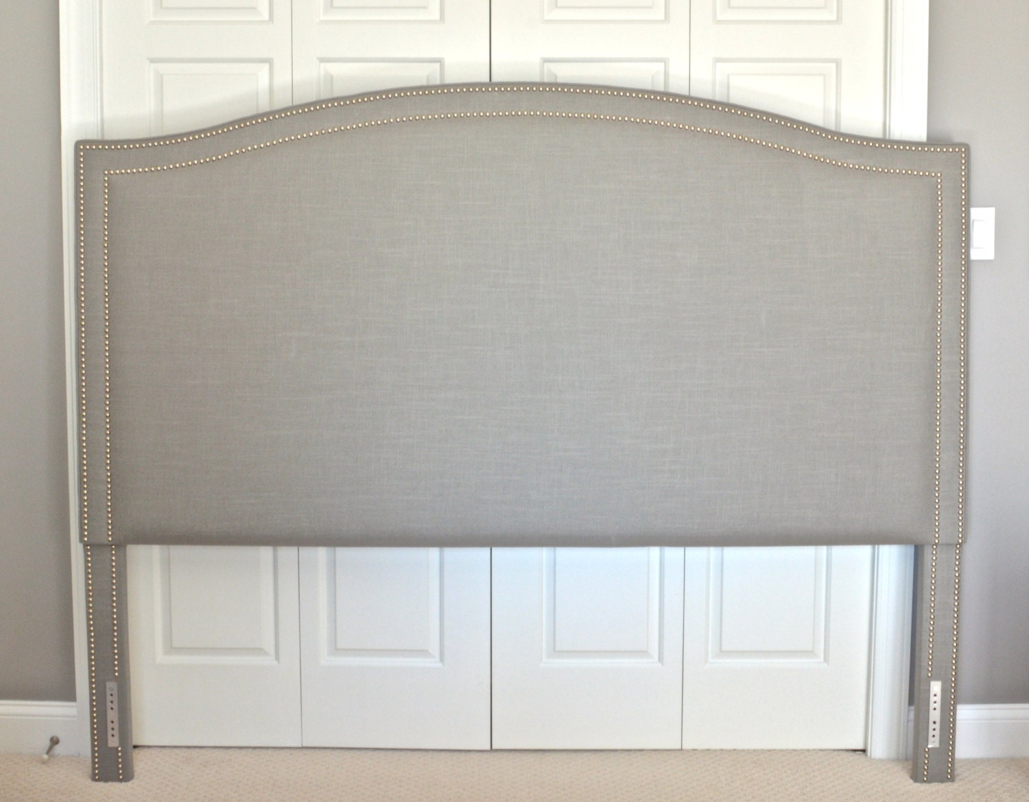 Upholstered Headboard King Queen Full Twin Size Camelback Shaped