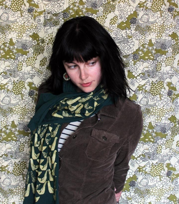 Screen Printed Jersey Scarf in Forest Green with Partridge Print in Gold