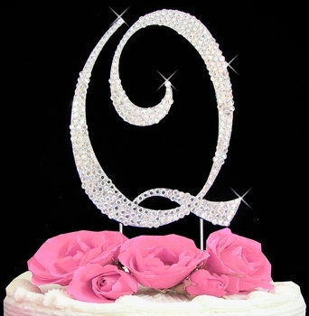 Large Rhinestone Crystal Monogram Letter  Q  Wedding Cake Topper 5 inches high