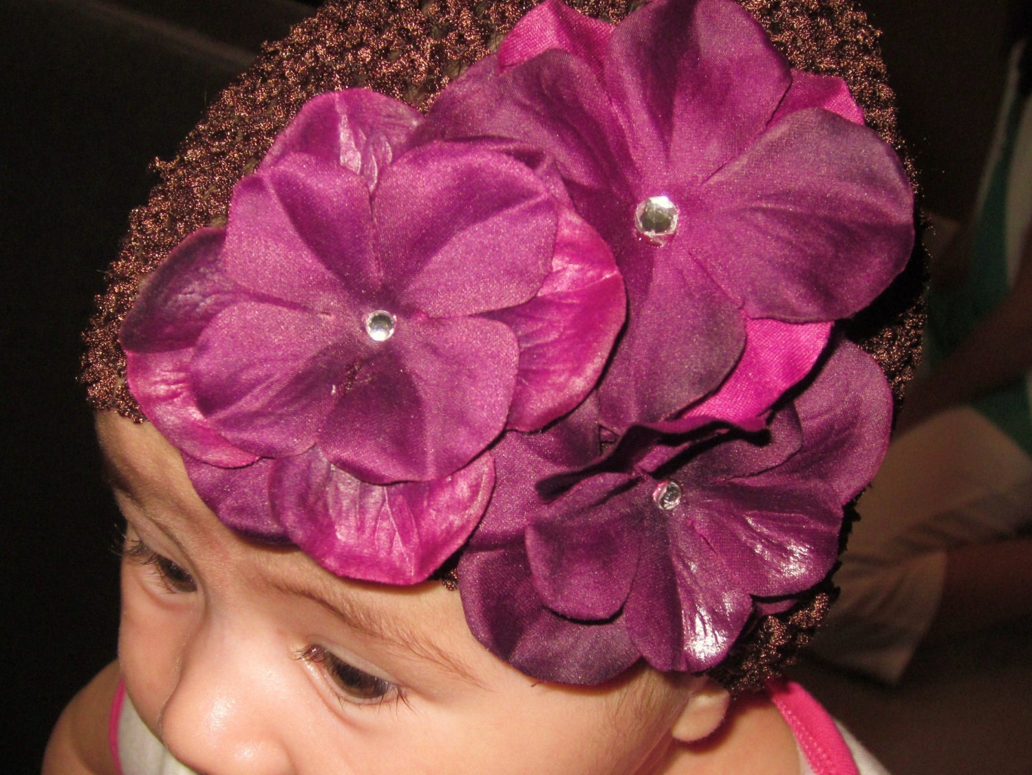 Infant Waffle Hat- Brown flowers