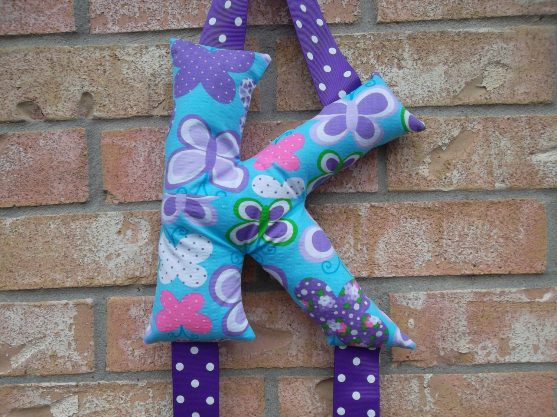 PICK YOUR INITIAL Plush Monogram Bow Holder Sew Craft Hair Bow organizer - ransomletterhandmade