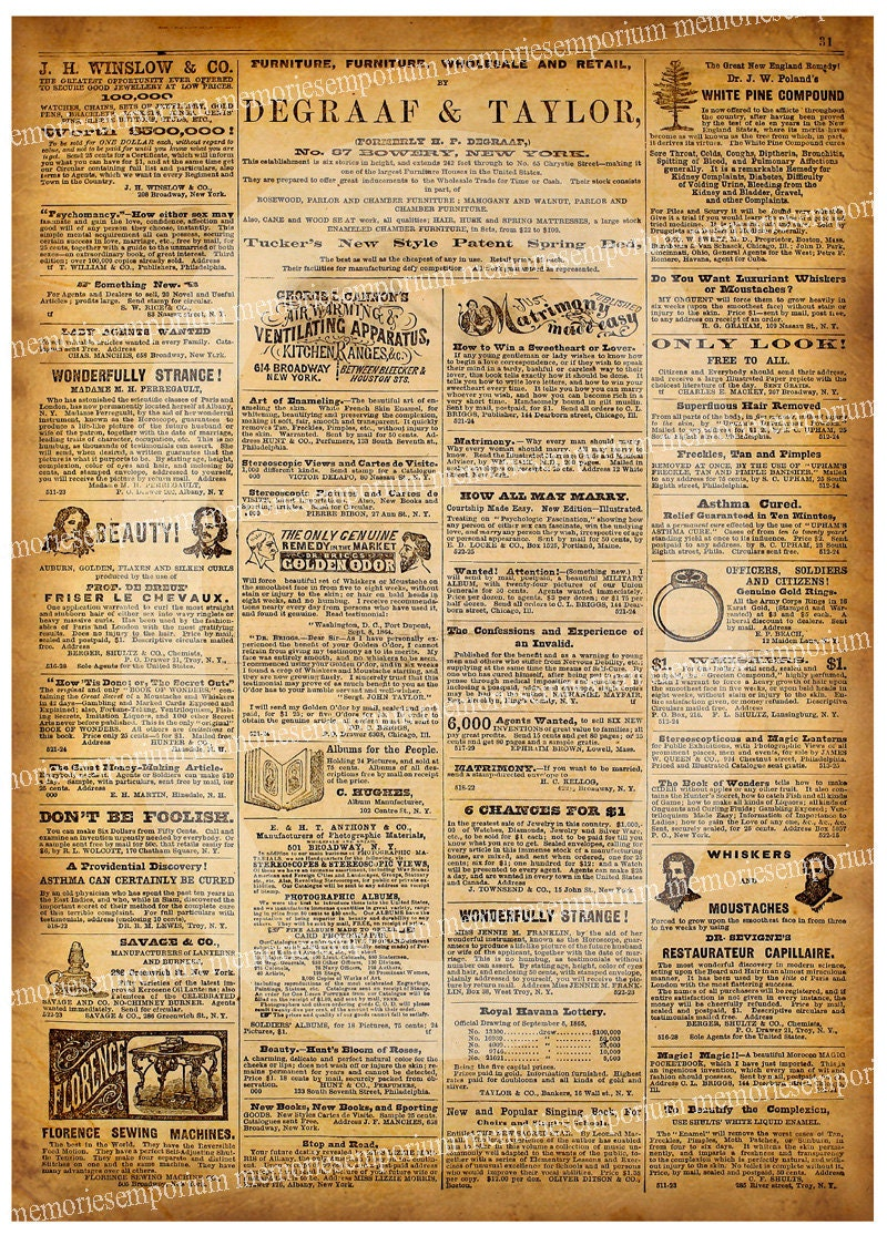 antique newspaper page old ads united states by