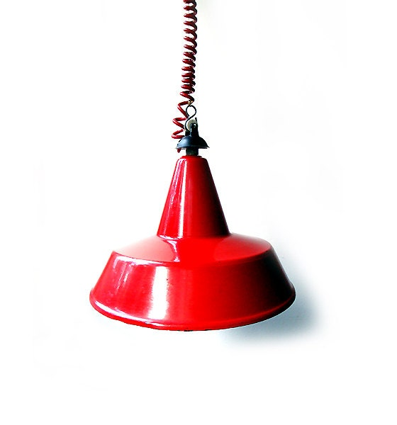 Vintage Red Industrial Pendant Light Italian By