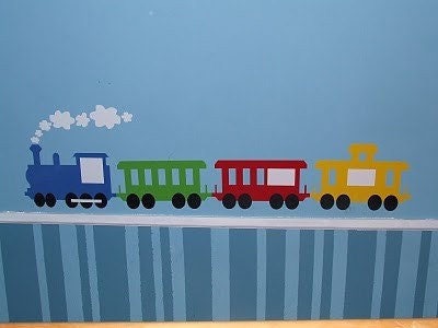 4 car train vinyl, in green, blue, red and yellow