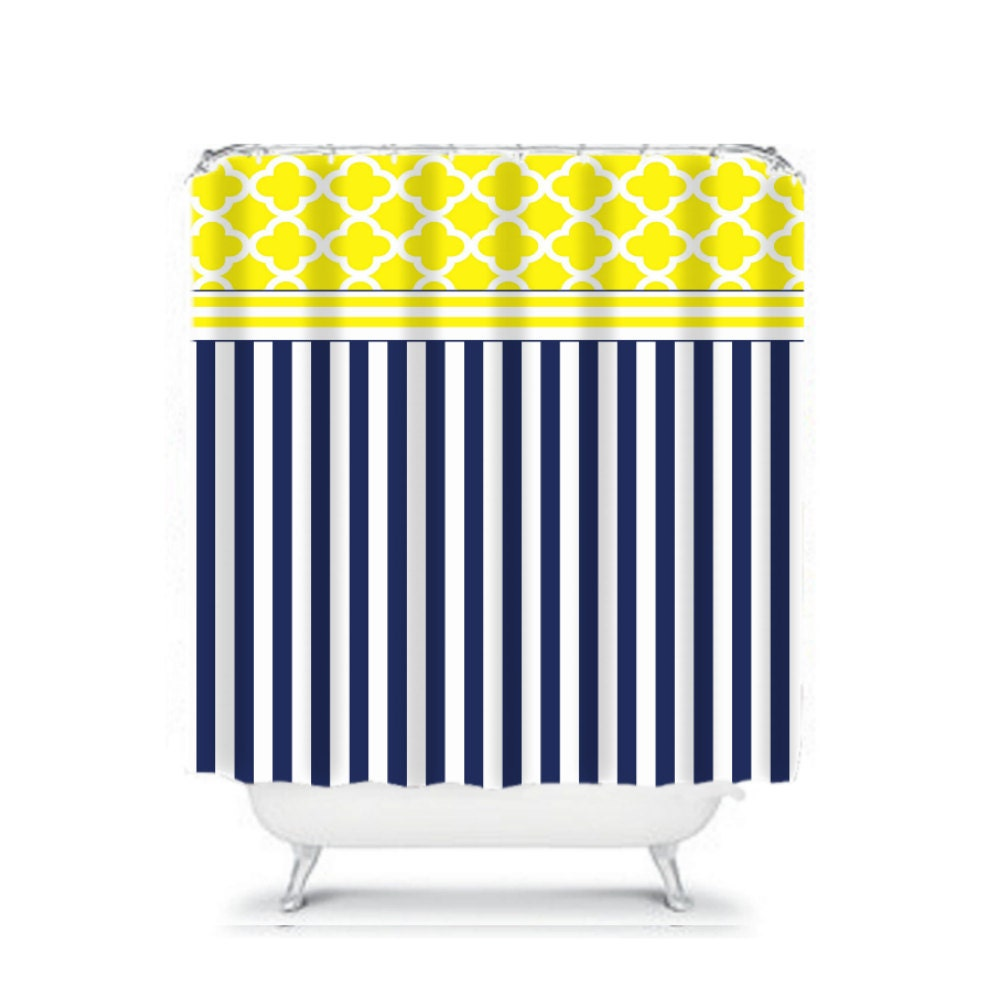 Navy Blue And Yellow Shower Curtain