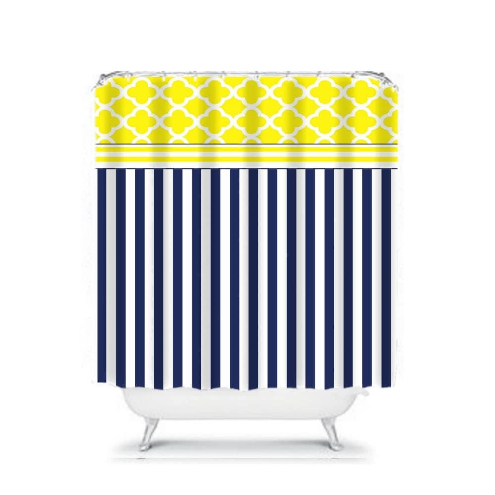 Shower Curtain Navy Blue White Yellow Stripes Quatrefoil Moroccan