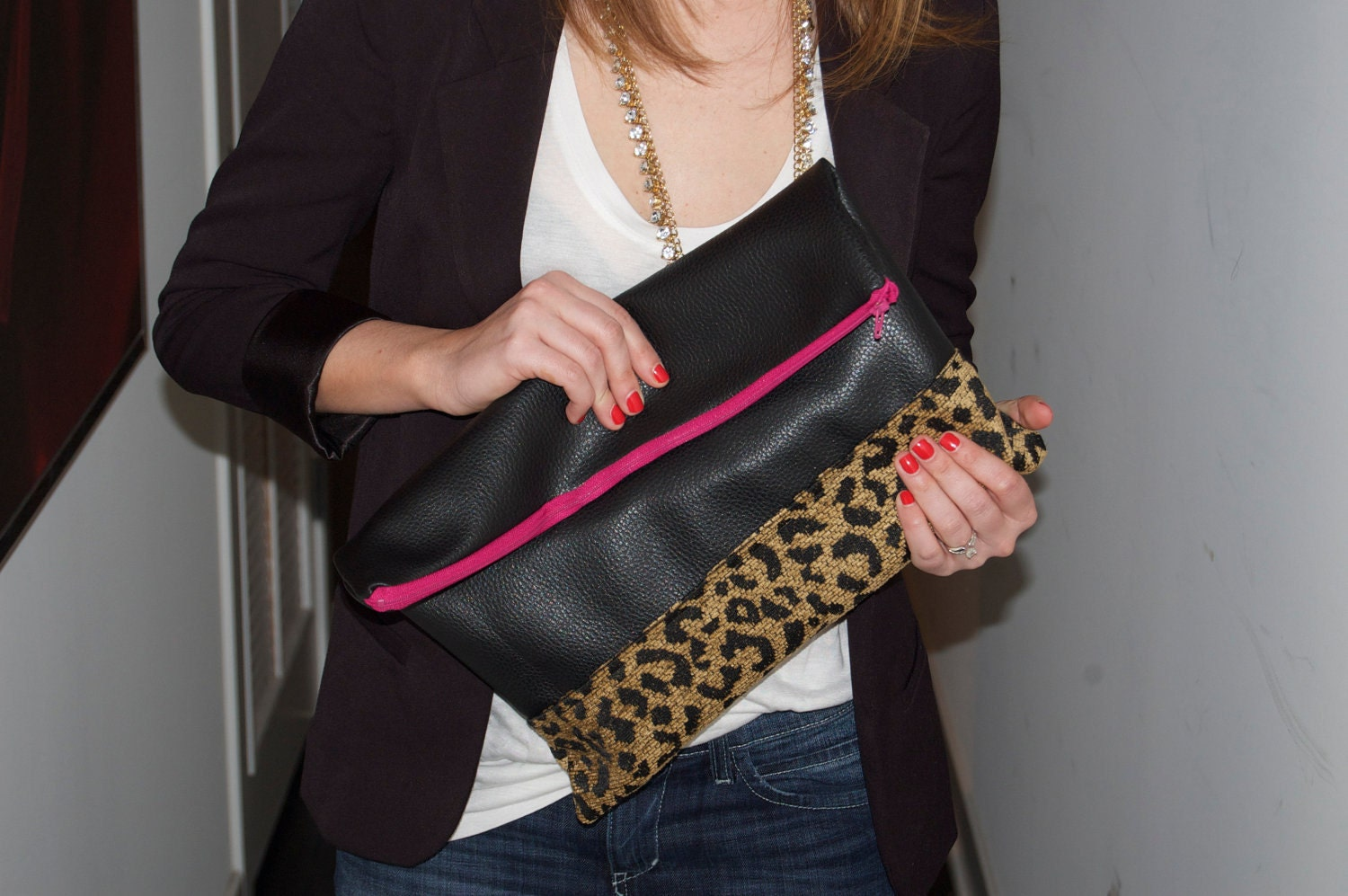 RESERVED Large Two-Tone W/ CHEETAH Clutch