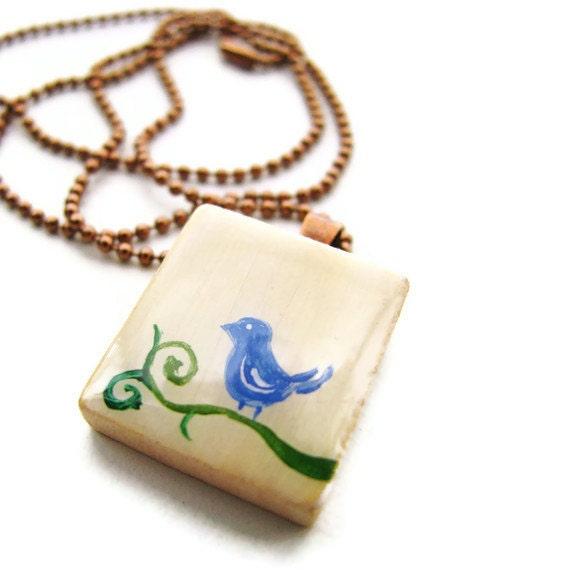 Happy Bluebird Vintage Scrabble Tile Necklace Hand Painted - heversonart