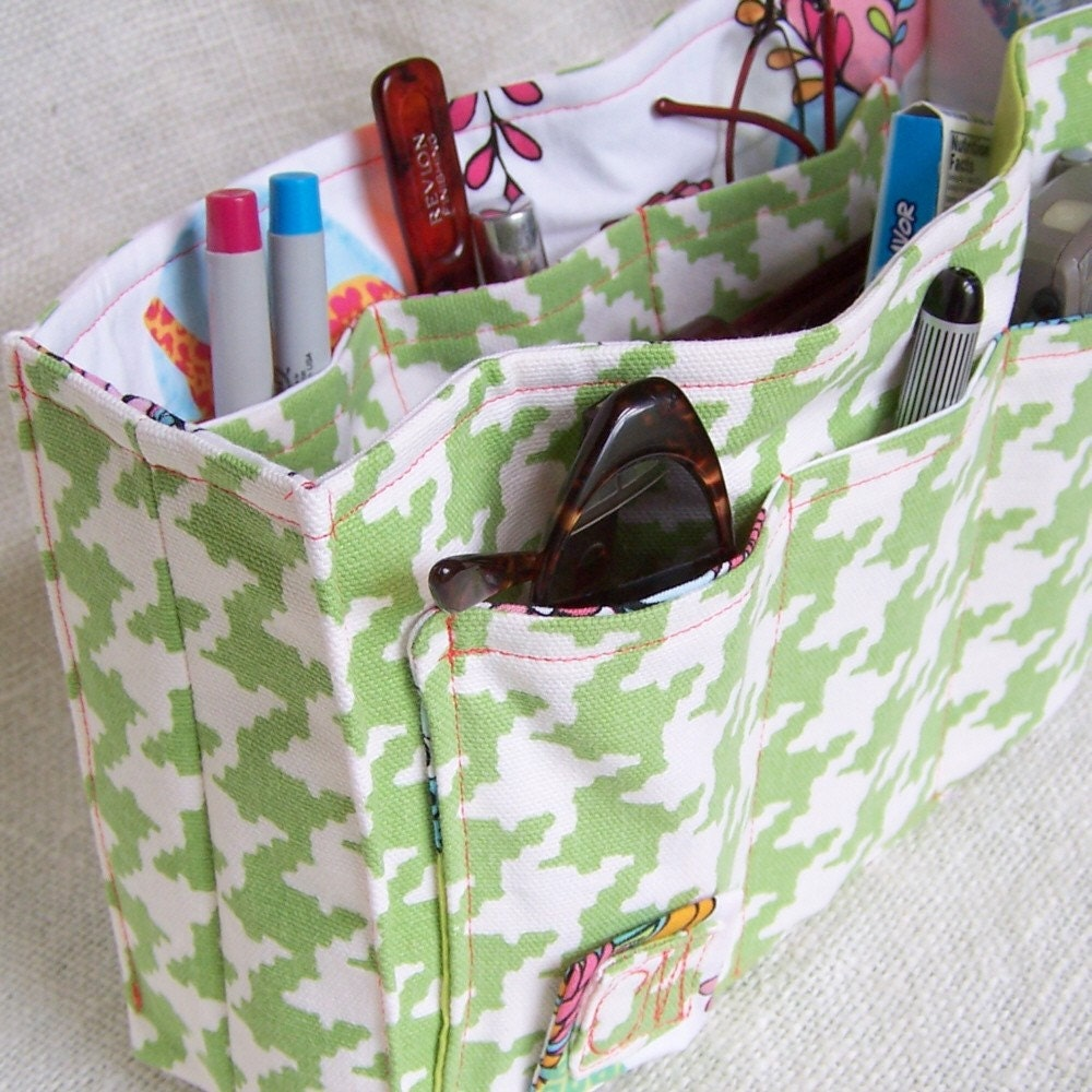 Purse Organizer - Lime Houndstooth