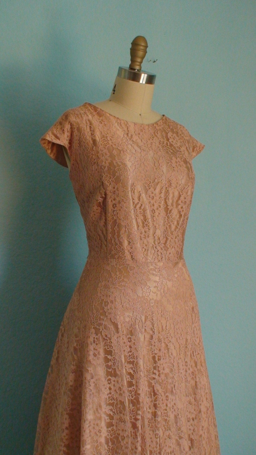 Vintage 1950s Sweet Pink Dream Lace Dress