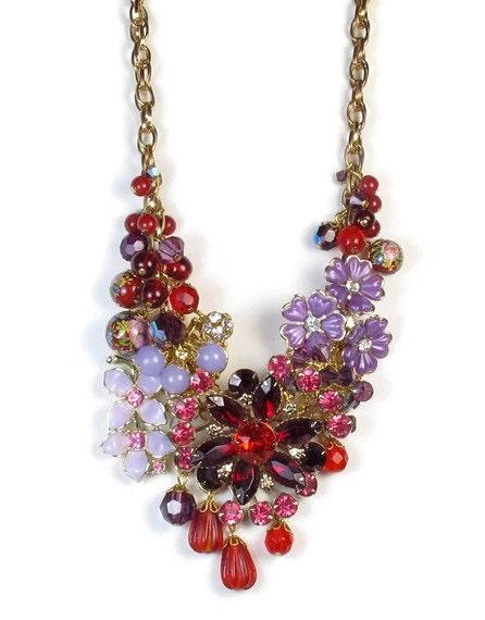 Statement Necklace -Repurposed Vintage Rhinestone, Red Purple