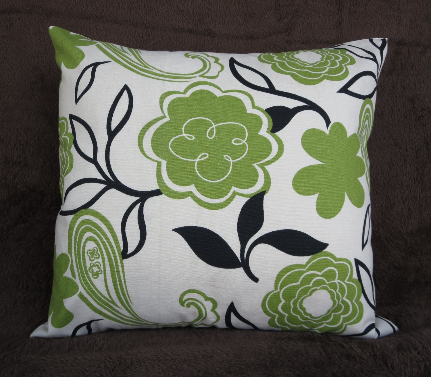 pillow cover 20x20, 22x22 inches pillow, green throw pillow, zipper enclosure, cotton pillow, floral pillow cover,green and black fabric - CoolRoomDecor