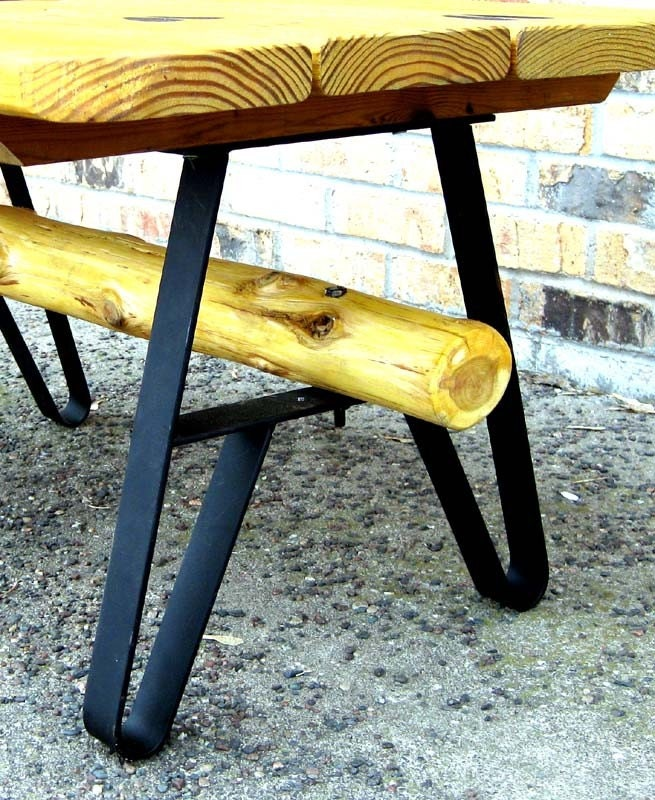 Bench or Table DIY with these Wrought Steel Legs. Painted Flat Black