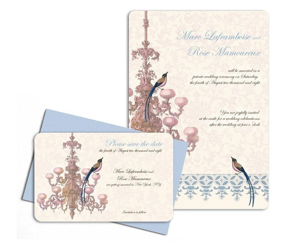 Chandelier and blue eyed bird- wedding invitation sample set