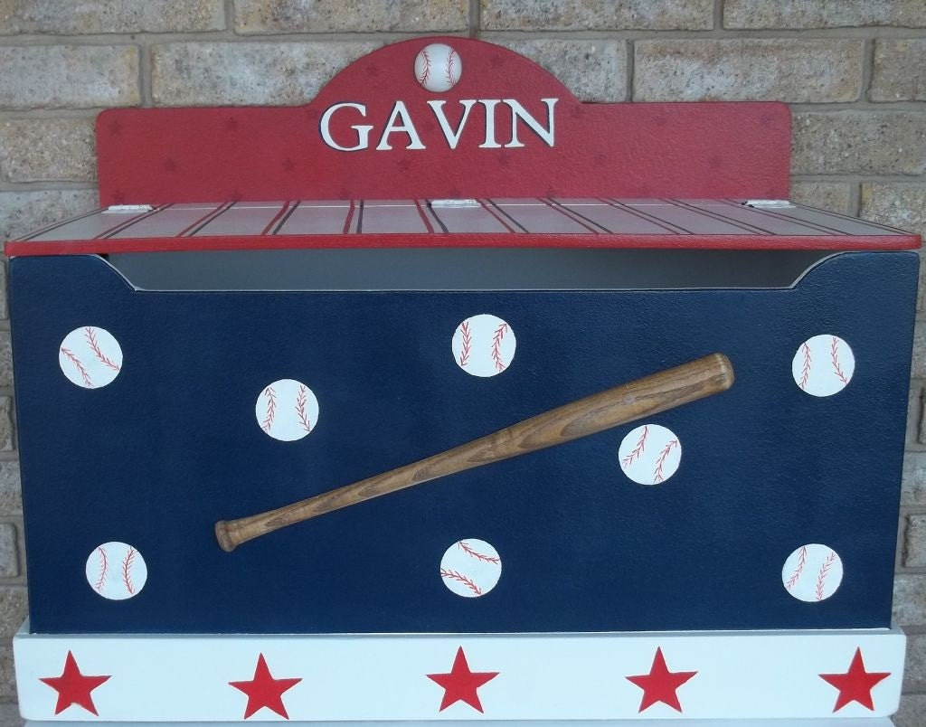 Custom Baseball Sports Themed Toy Chest Toy Box By Spoiltrottn