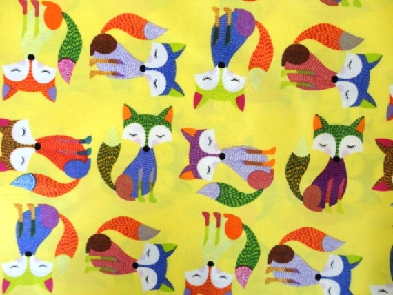 Timeless Treasures - 1/2 Metre Foxes in Yellow / Foxy Owl Collection - FreshFabricsAust