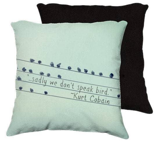 Sadly We Don't Speak Bird - Fine art nature photography - Throw Pillow, Home Decor, Blue, Birds, Nature, Quote - RDelean
