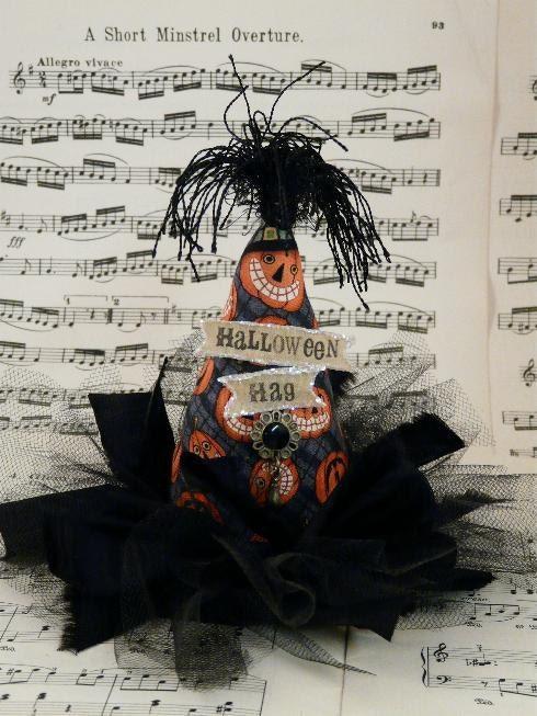 Halloween HAG Fascinator Party Hat -  Witch pumpkin fabric banner Steam punk tea party mini head piece