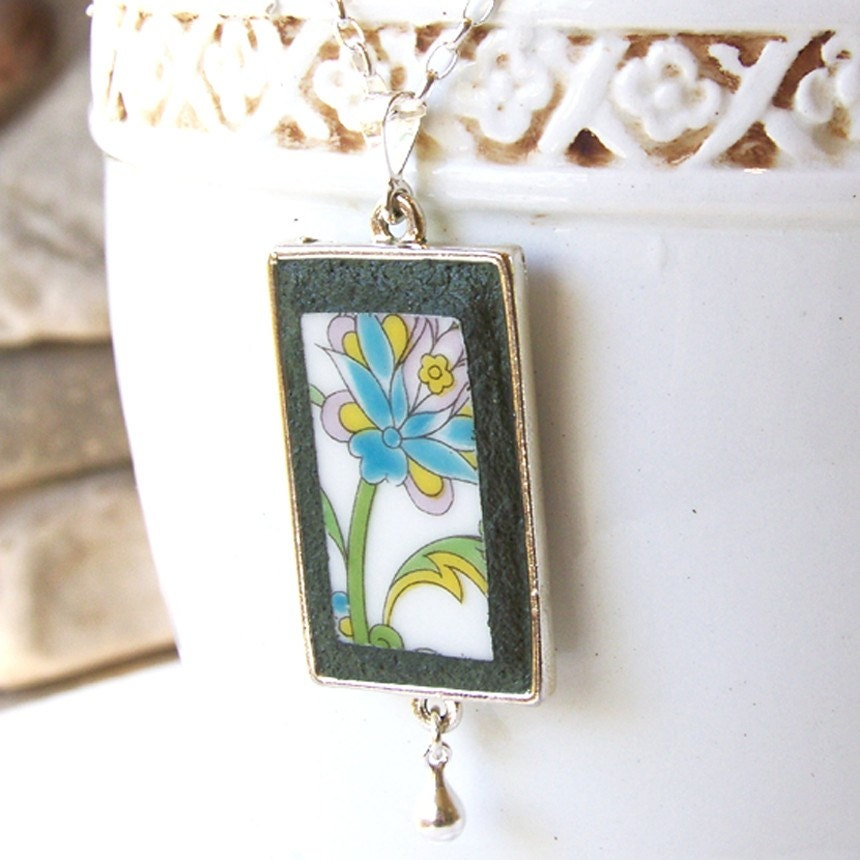 Turquoise Floral Recycled China Necklace - Sterling Chain