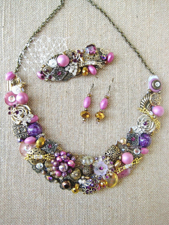Plum Statement Necklace- Bronze and Deep Purple Bib Necklace- Rhinestone Bridal Statement Jewelry in Gold
