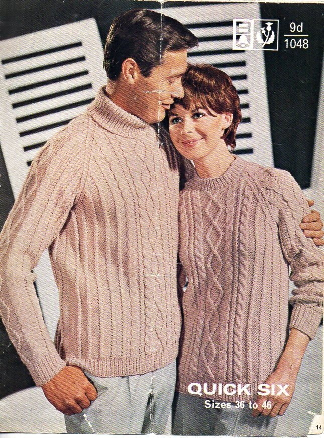 womens mens aran sweaters knitting pattern PDF cable sweater aran jumper polo neck crew neck 3646 chunky bulky 12 ply Instant download