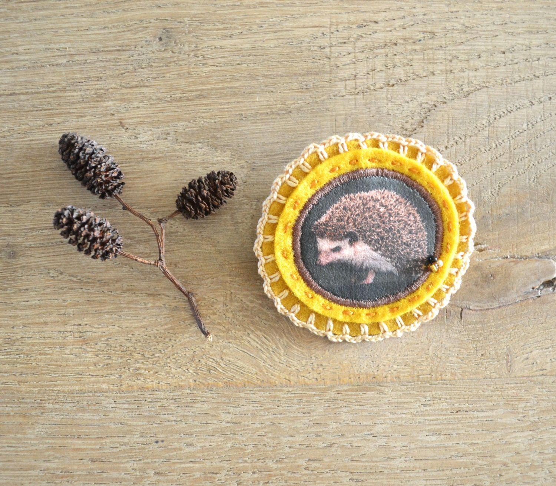 brooch with hedgehog - felt brooch - natural history -  woodlands - redstitchlab