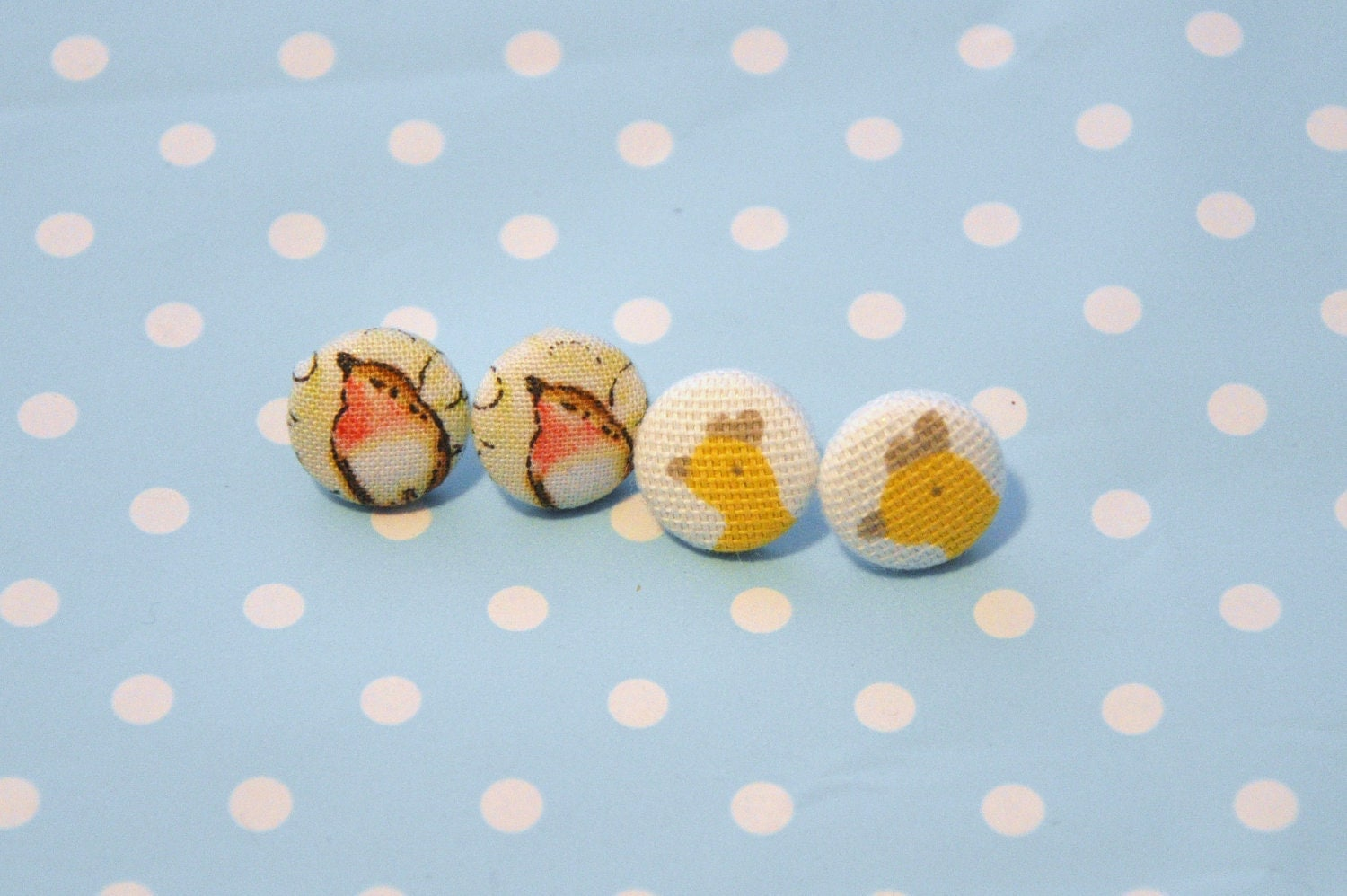 Robin & Chicken Earrings - Cute, Pretty Fabric Bird Stud Earrings - Perfect Jewellery / Jewelry Gift - Under 10 pounds
