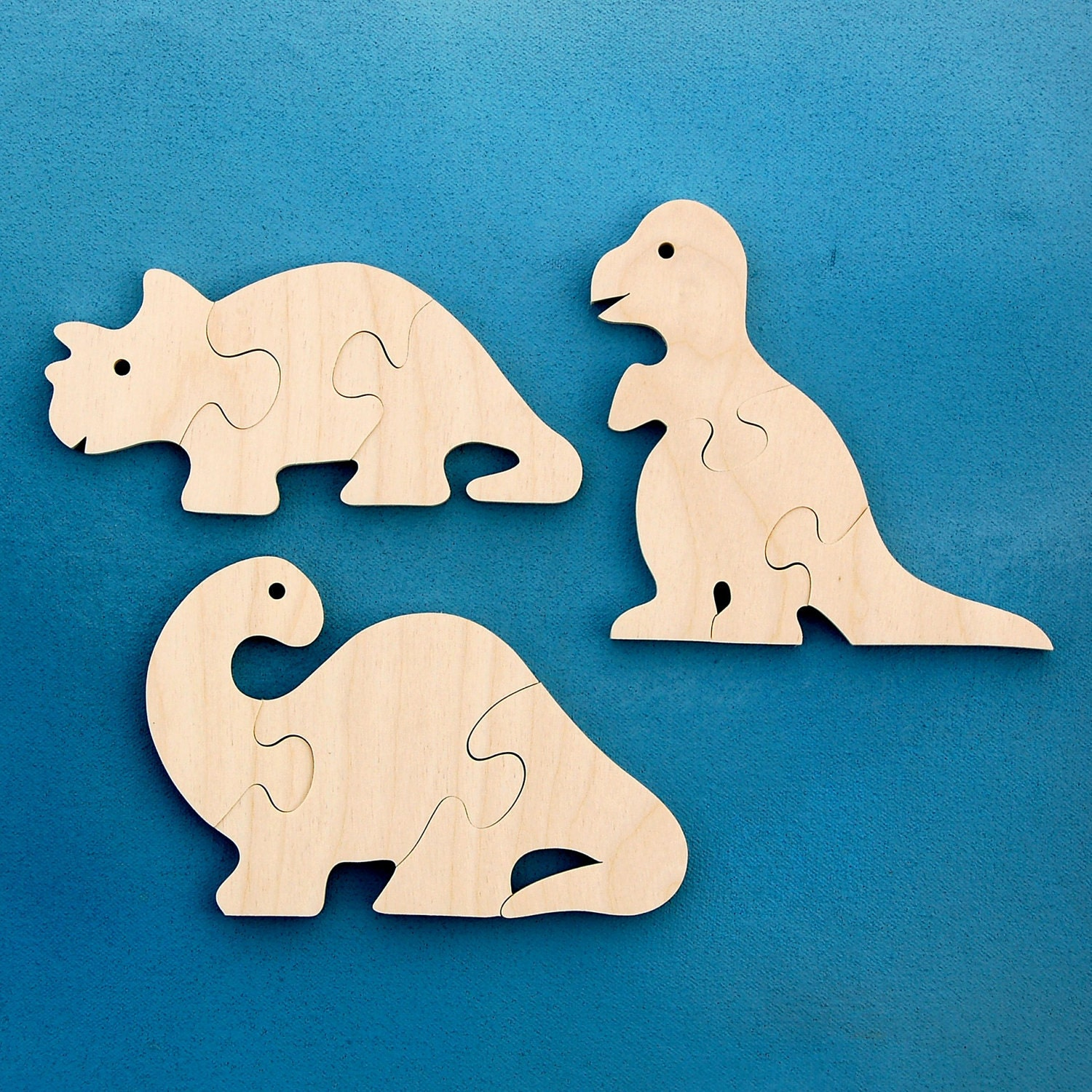 Wood Dinosaur Puzzles Set Of 3 Childrens Wooden By
