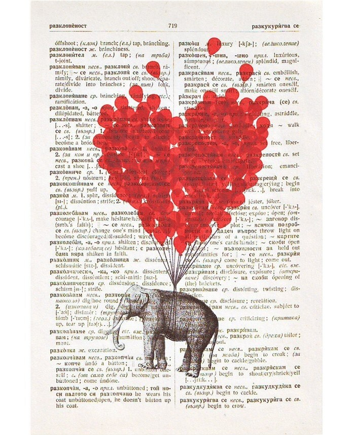 ORIGINAL Vintage DICTIONARY Art Print -LOVE Carries All - Free Shipping Worldwide