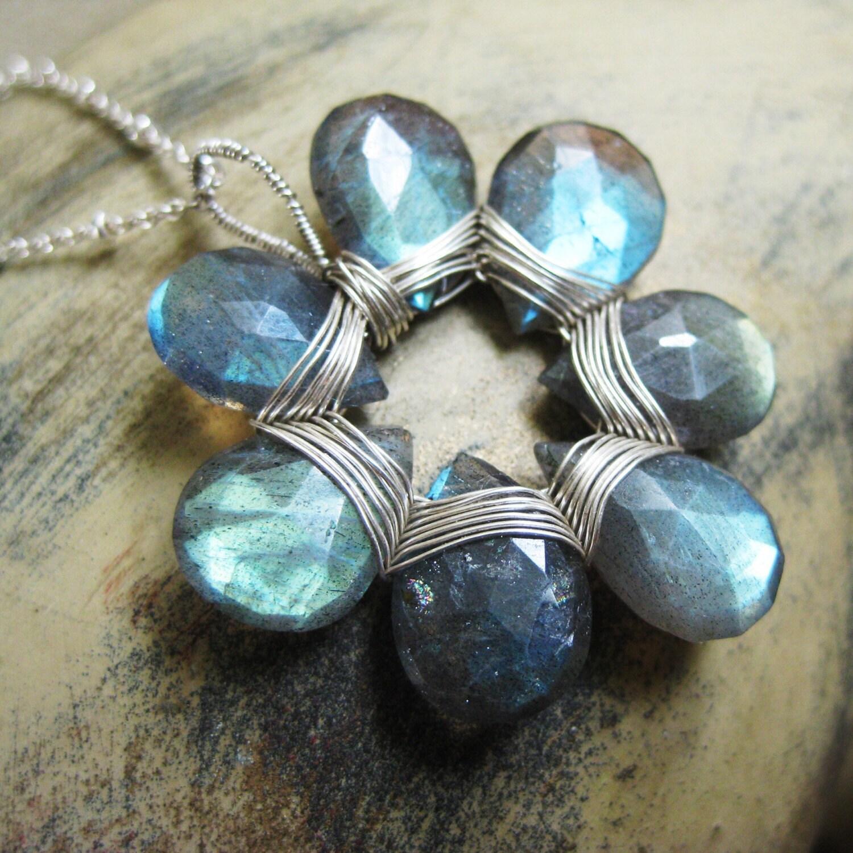 Aqua, Blue and Grey Labradorite Silver Flower Pendant Necklace