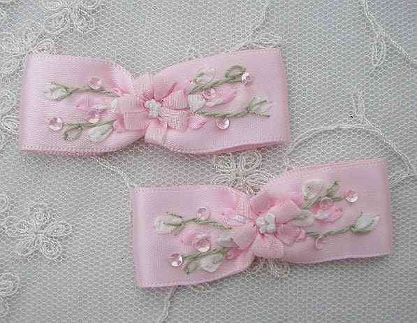 2pc Hand Embroidered Pink Satin Ribbon By Delightfuldesigner