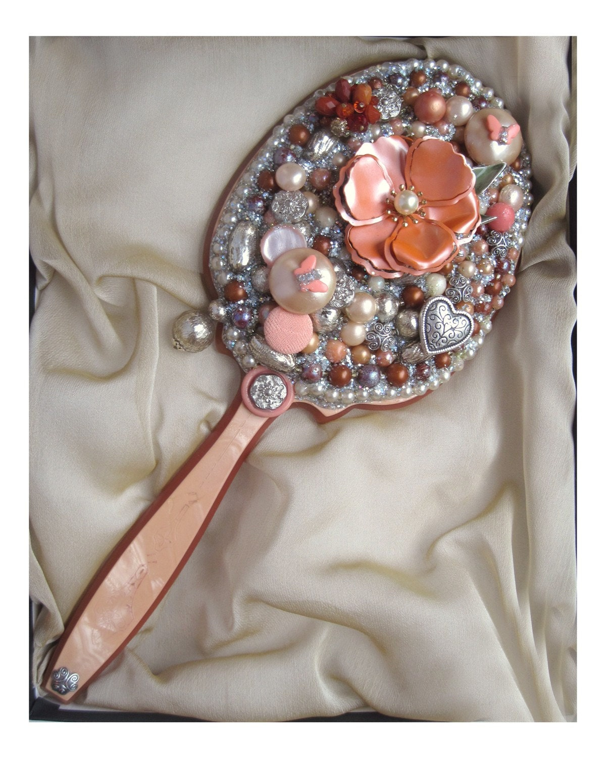 Hand Mirror, Decorative Jeweled Art Mirror, Radiant Reflections, Lustrous Mirror, Peach Blossom Floating In a Sea Of Silvery Pearls
