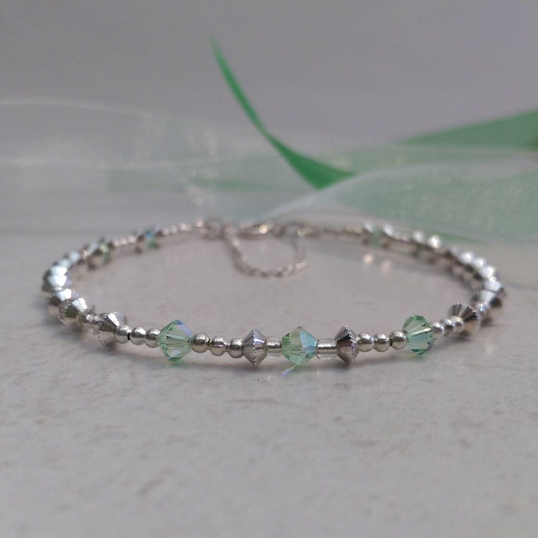 Chrysolite Swarovski Crystal Bracelet Silver Bead and Crystal Bracelet Crystal Bracelet Green Bracelet