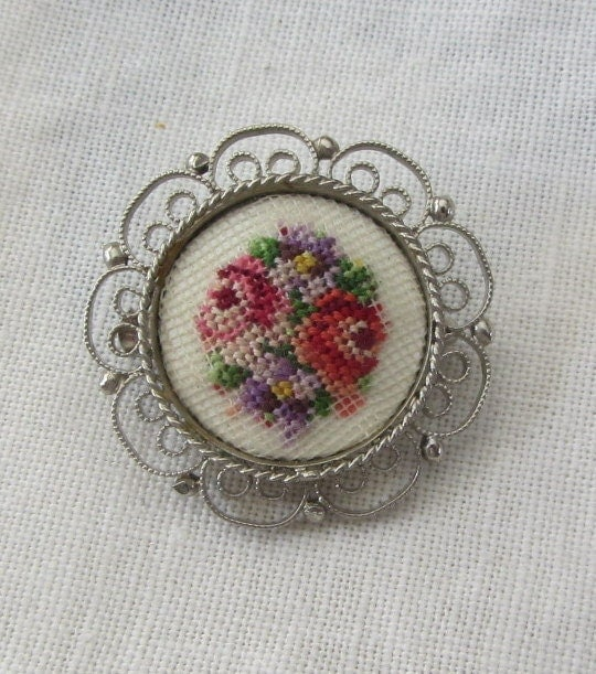 "Vintage ""Petit Point"" Needlework Tapestry Brooch/Pin with Silvertone Filigree Border 1960's"