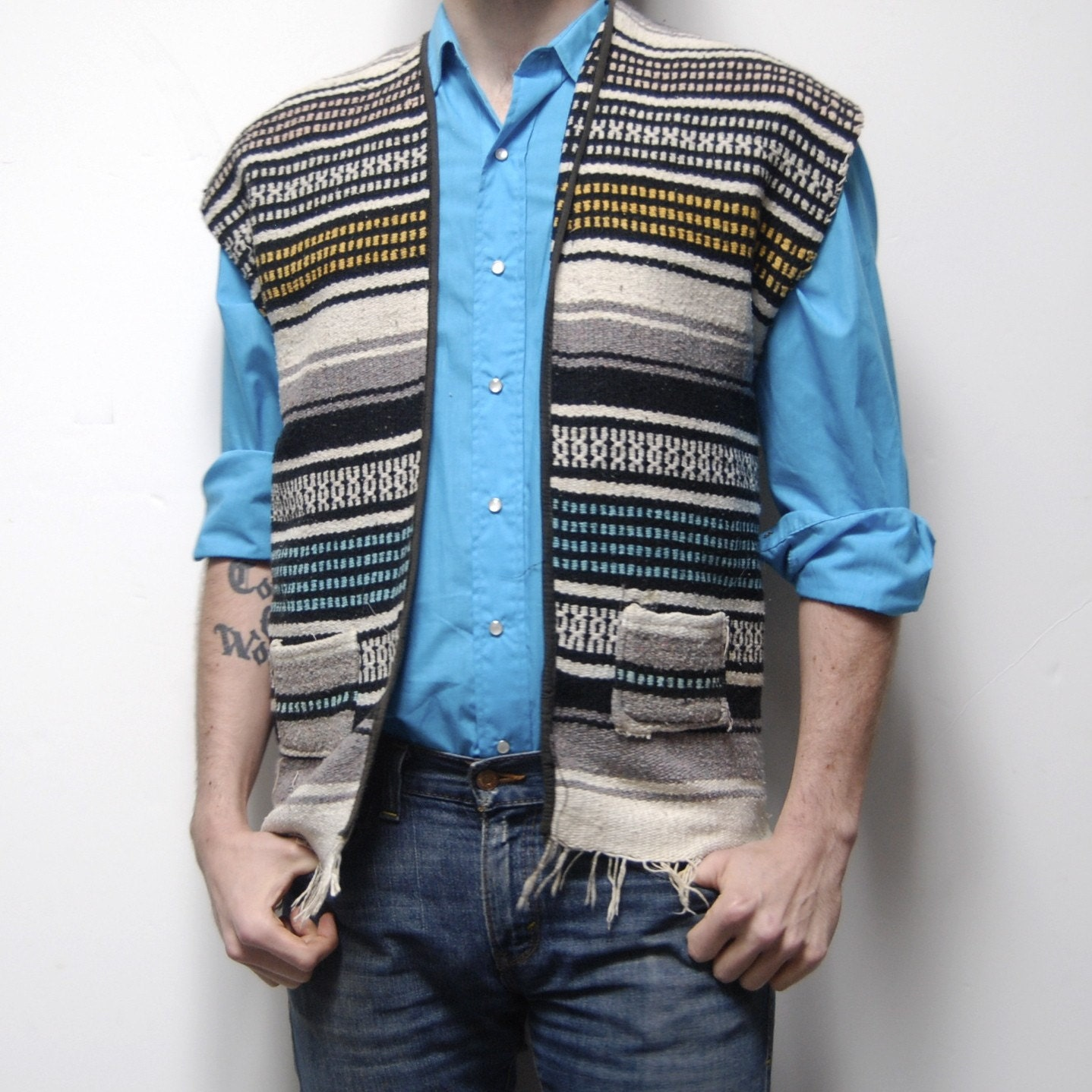 Vintage MEXICAN Blanket Poncho SUMMER Woven VEST By