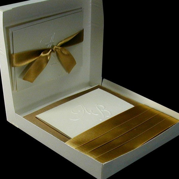 100 Boxed Couture Wedding Invitations Antique Gold and Ivory