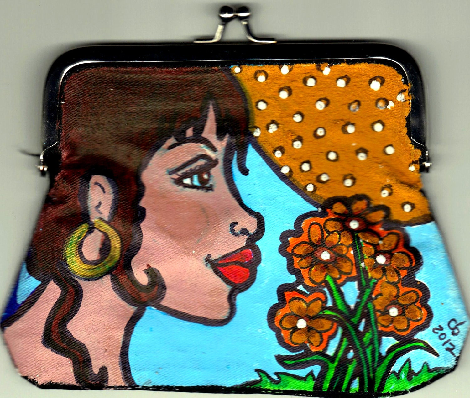 Colorful Handpainted Original Art Coin Purse