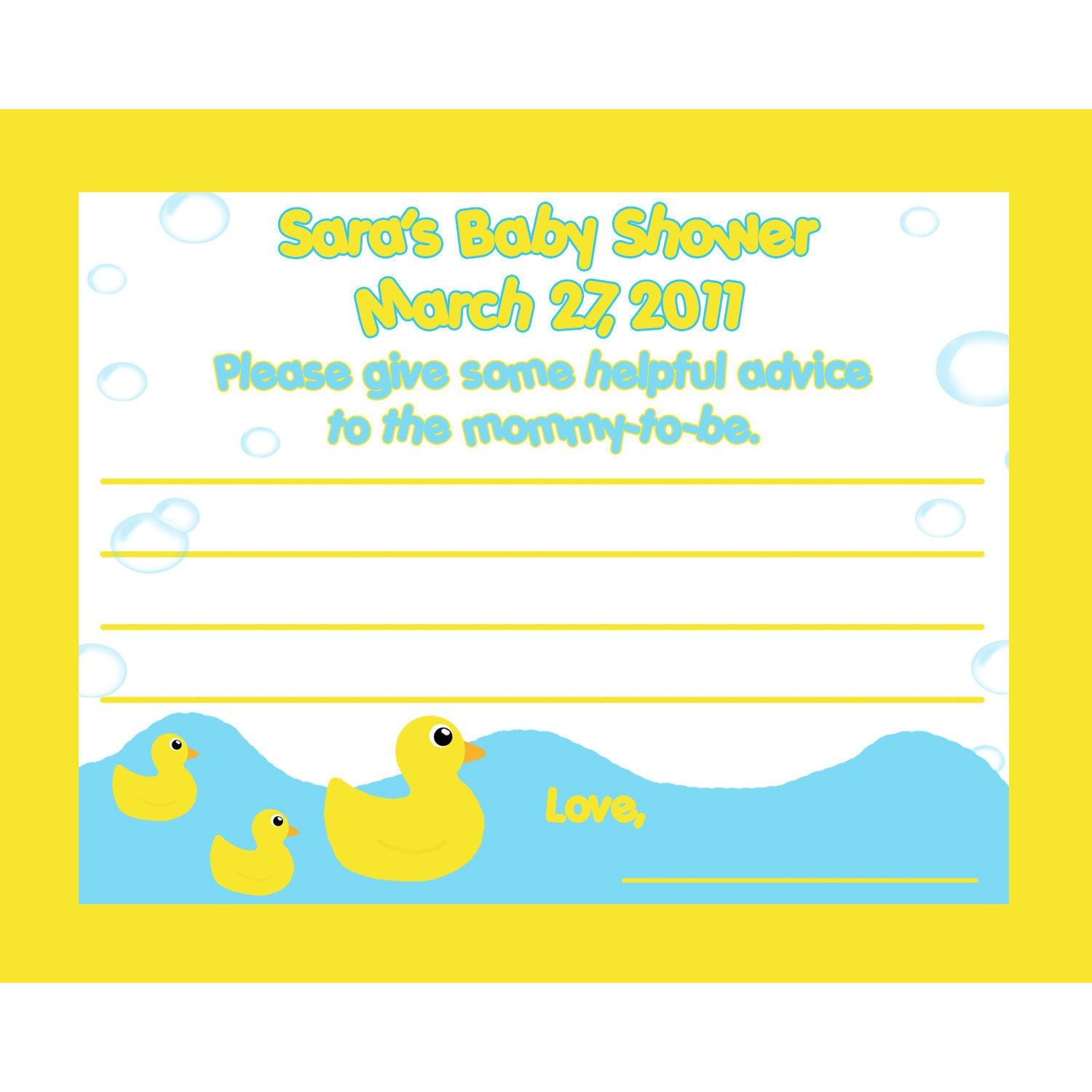 12 personalized baby shower advice cards by magicalcreations