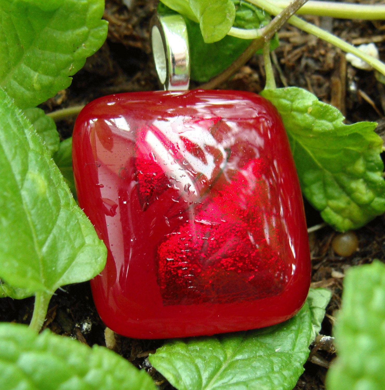 Tuscon red glass pendant