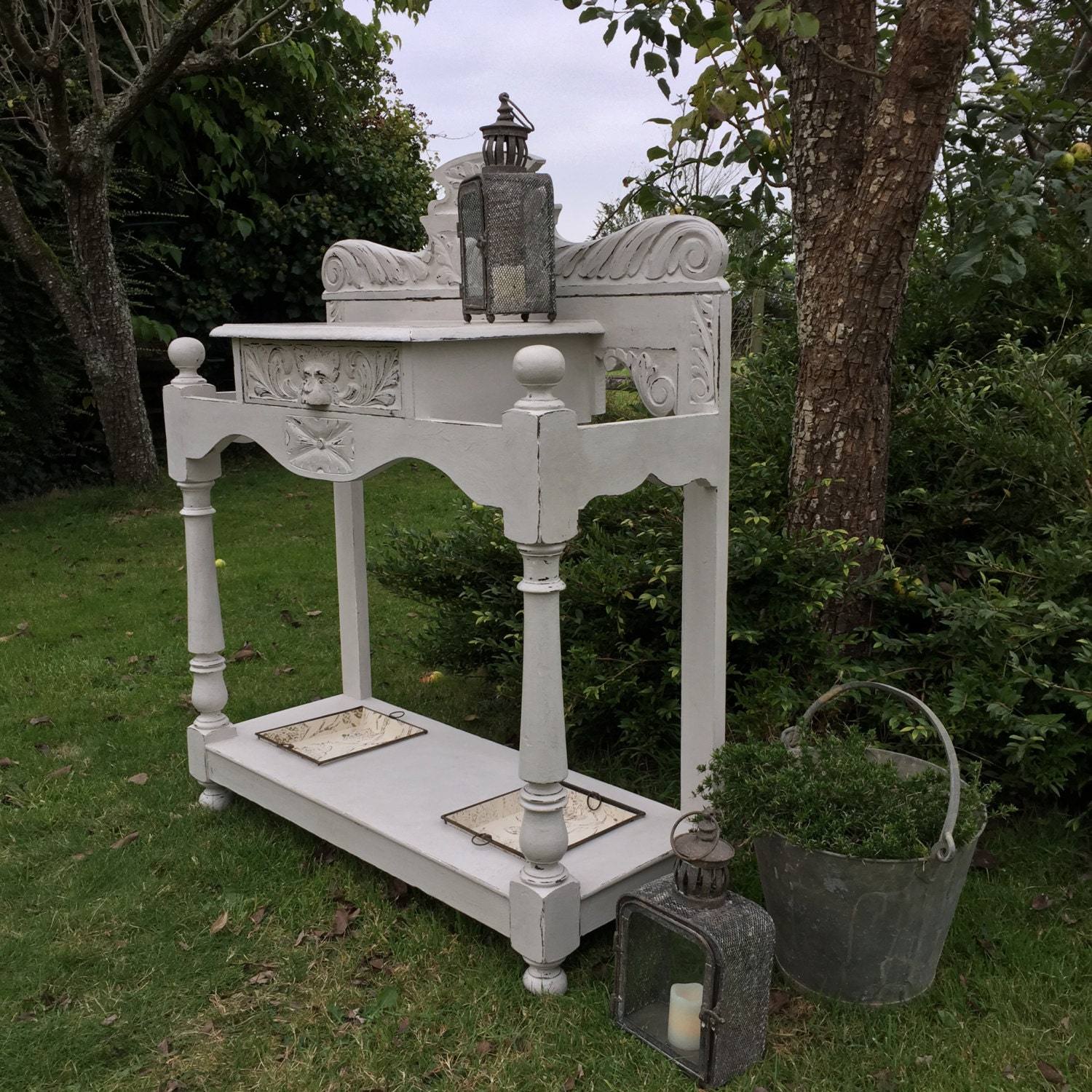 Antique Vintage Grey Victorian Green Man Umbrella Hall Stand Console Table Handmade FREE DELIVERY