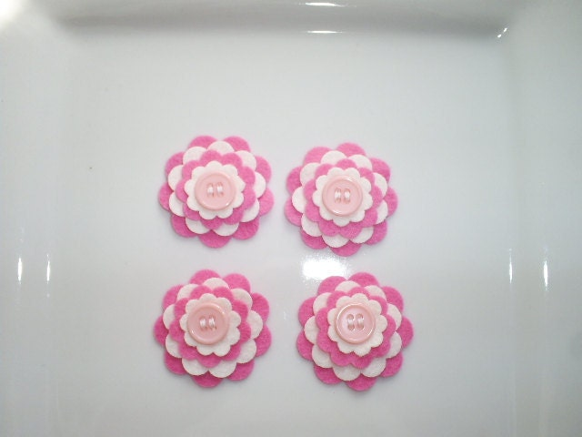 Wool Felt Flowers -  Set of 4  - Bright Pink and White Layered Flowers With Pearl