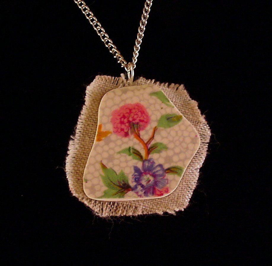 Broken china jewelry shard and linen pendant necklace antique Winton Old Cottage chintz