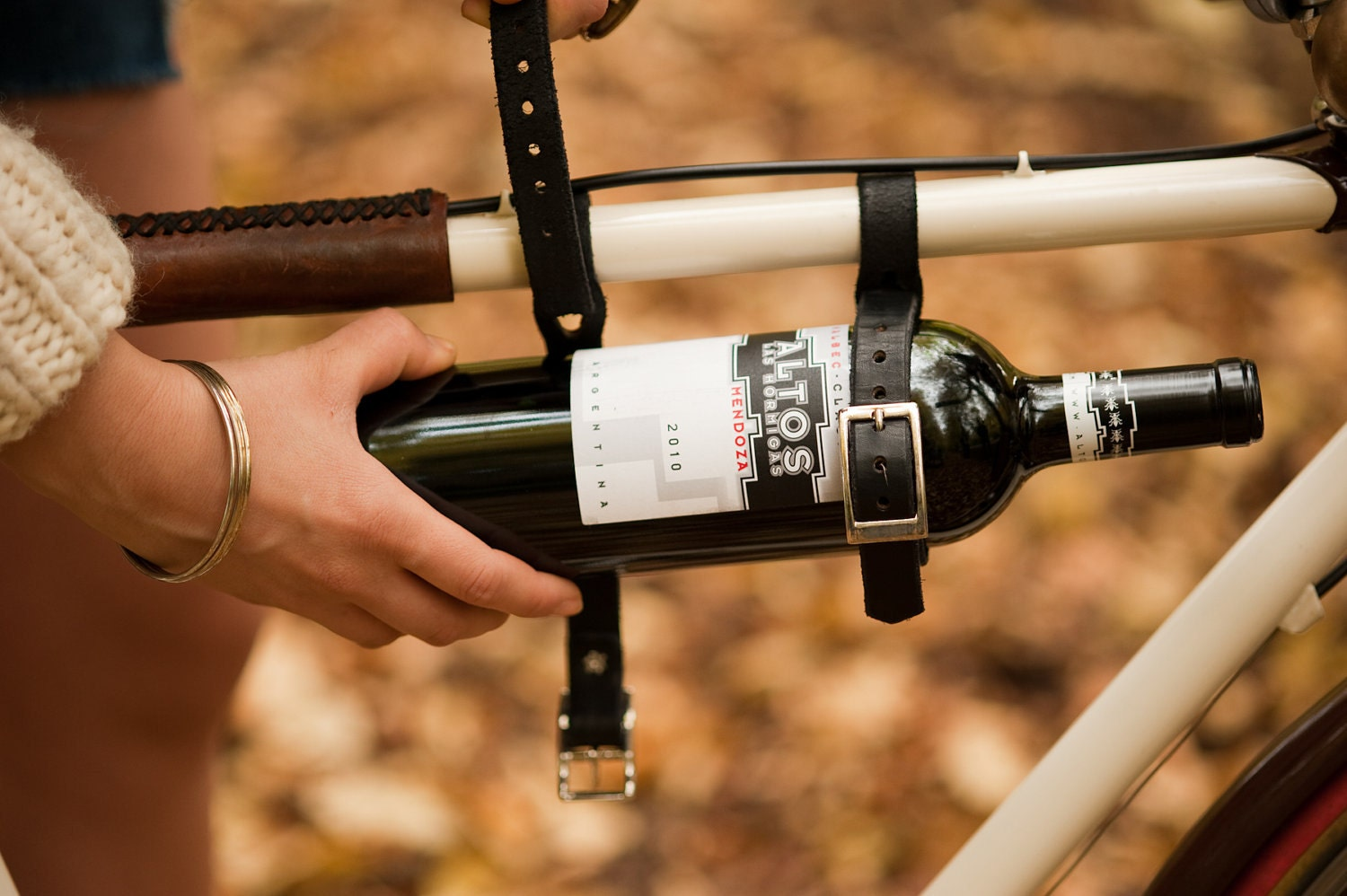 bicycle accessory wine holder leather cinch