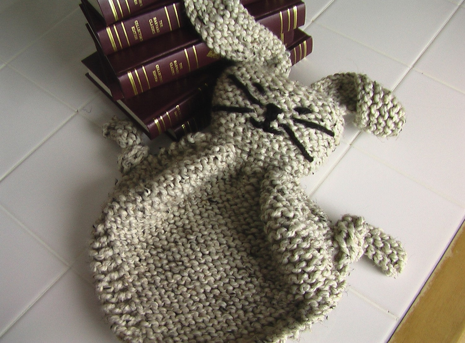 Buddy Blanket Knitting Pattern : Large Knit Bunny Blanket Buddy. by ItStartedWithYarn on Etsy